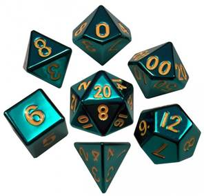 METALLIC DICE SET: 16MM POLYHEDRAL TURQUOISE PAINTED (7)