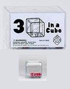 KOPLOW SPECIAL DICE: 3 X RED D6 5MM IN A CLEAR 25MM CUBE